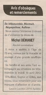 Décès Démanet Michel
