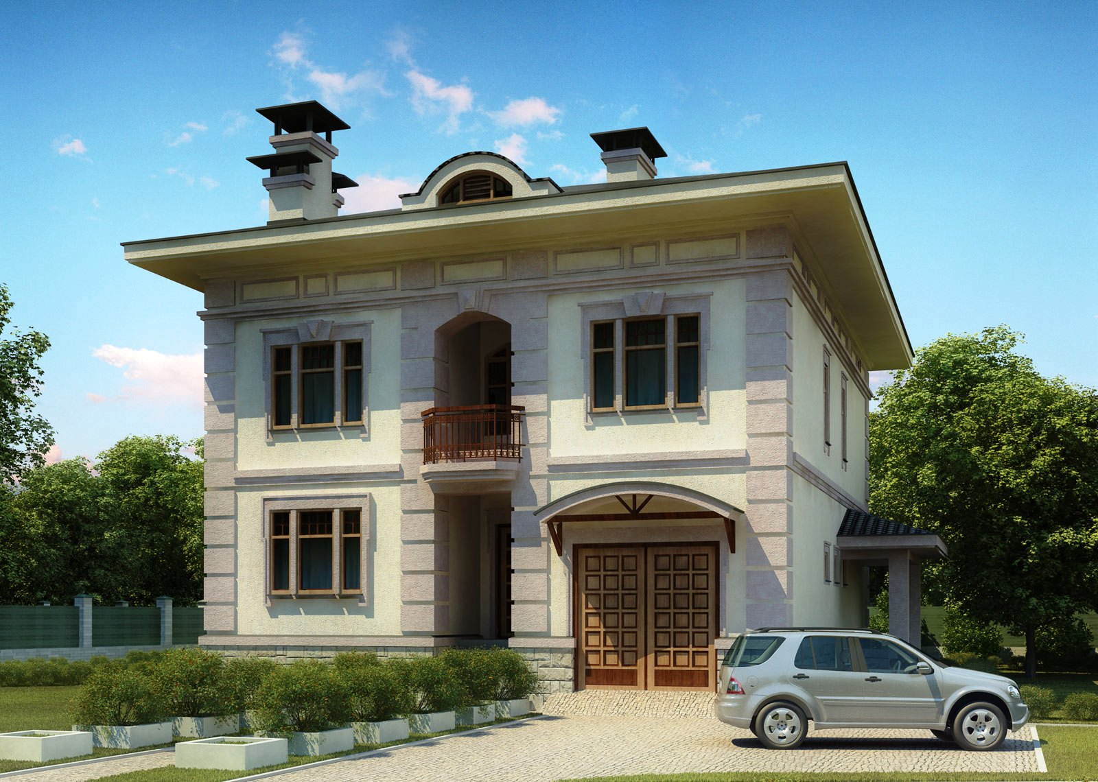 3d front europe 3d design house front elevation for Classic house fronts