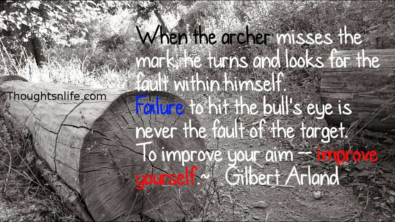 Thoughtsnlife.com: When the archer misses the mark,  he turns and looks for the fault within himself.  Failure to hit the bull's eye is never the fault of the target.  To improve your aim -- improve yourself.  ~   Gilbert Arland