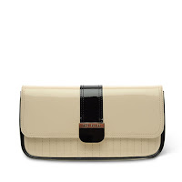 Elwell Colour Block Clutch Bag In Beige