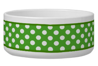 Green with white polka dots dog bowl from Zoe Pepper