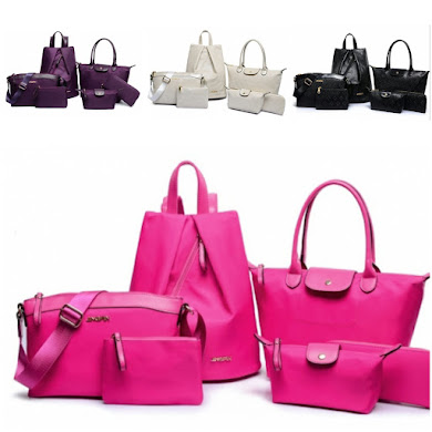 MULTI FUNCTION BAG ( 6 IN 1 SET ) - NYLON ROSE RED