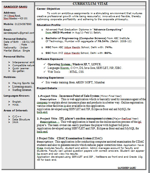 Onepageresumeformatindoc Sample Resume Format For Fresh Graduates