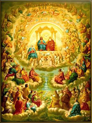 La Trinidad, La Virgen y Los Aageles rodeados de Todos los Santos