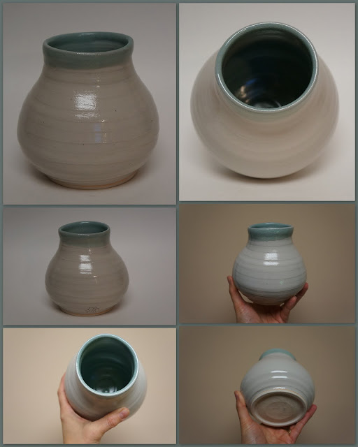 Ceramic vase in Celadon and Clear glazes, by Lily L.