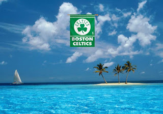 Boston Celtics Fans Wallpapers Celtics Flag in Blue Island background