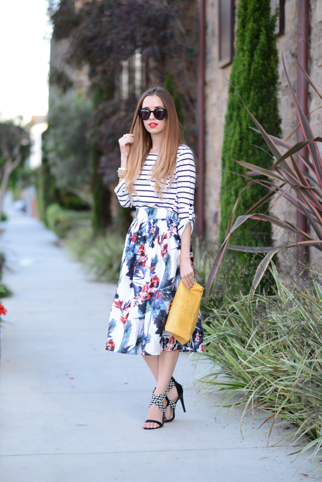 striped top and floral skirt via M Loves M