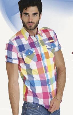 camisa a cuadros manga corta para hombre. sidecar