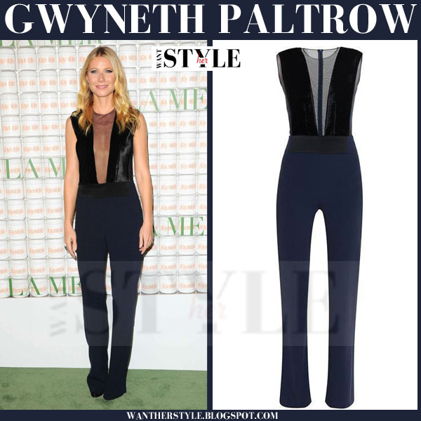Gwyneth Paltrow in black and navy sleeveless plunge neck galvan jumpsuit what she wore red carpet