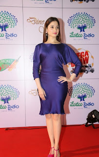 Tamannaah Latest Pictures in Silk Short Dress at Memu Saitam Dinner with Stars Red Carpet ~ Celebs Next