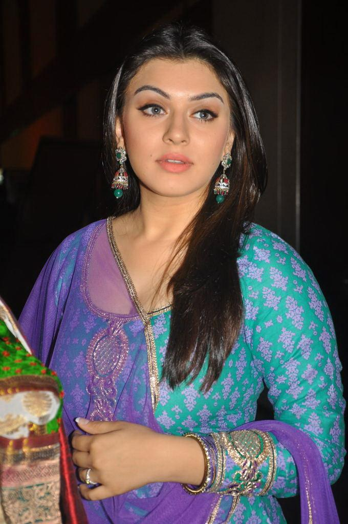 Actress Hansika Motwani Hot And Sexy Images In The Blue Chudithar Showing Her CLeavage And Cameraman Focussing Her boobs