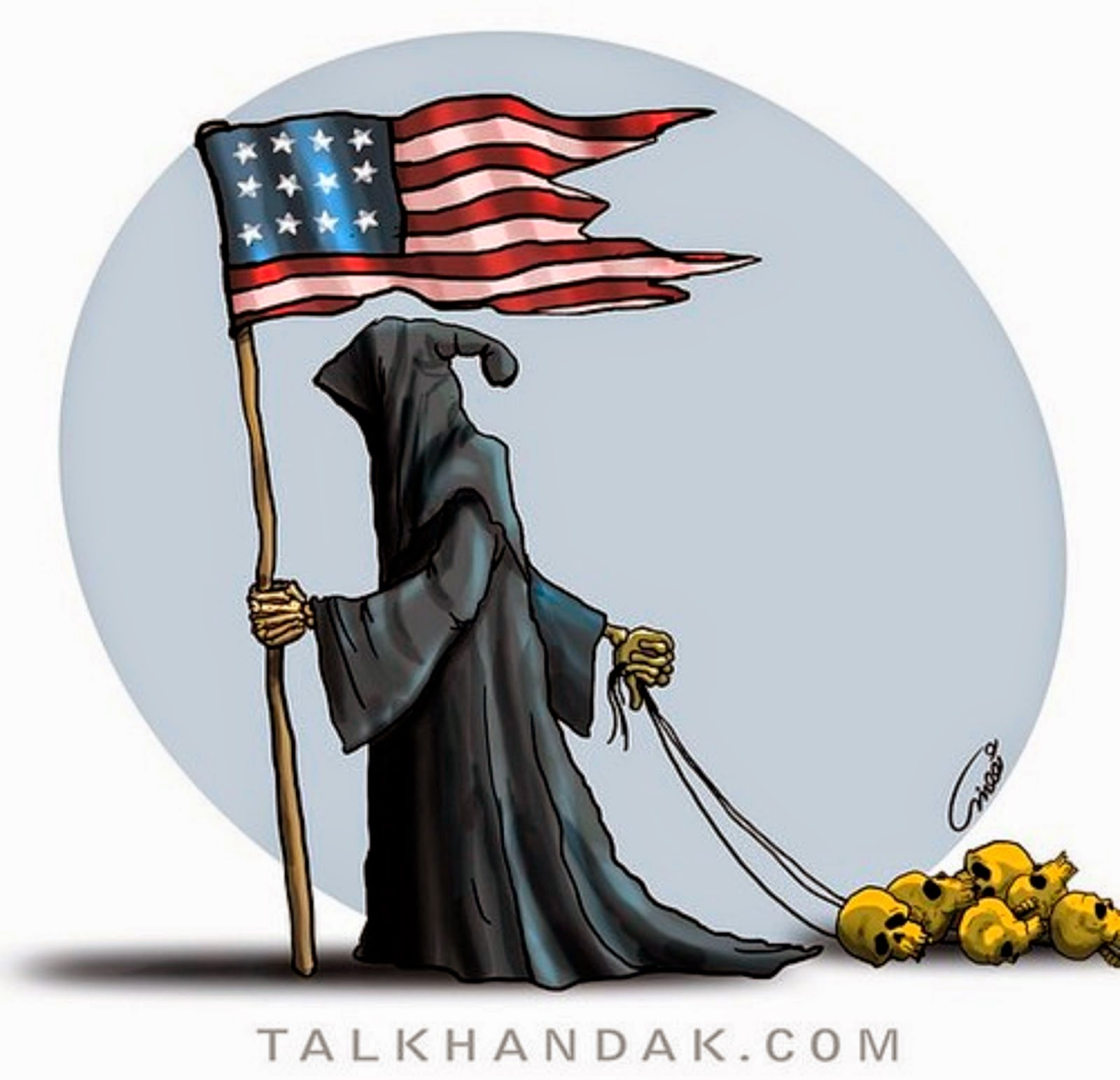 GRIM REAPER WITH THE U.S. FLAG