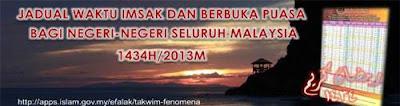 Jadual Waktu Imsak Dan Berbuka Puasa Kuala Lumpur ( Wilayah Persekutuan ) Dan Seluruh Negeri 2013 Di Malaysia | Takwim 1434H / 2013