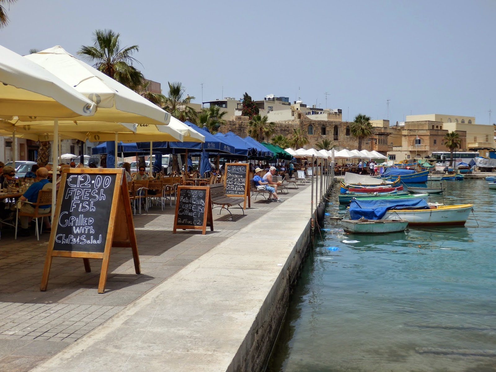 Harbour side restaurants Marsaxlokk, Malta