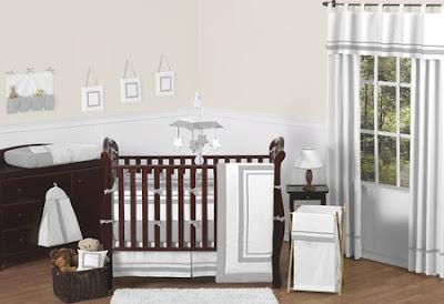 Gray and White Baby Bedding Crib Set