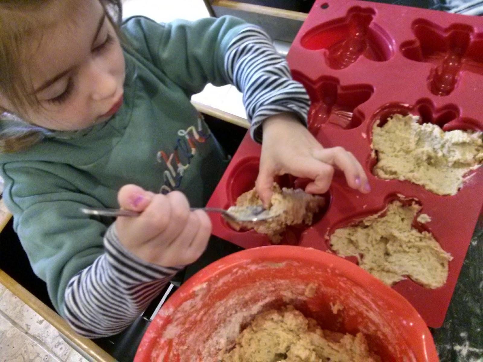 dough into moulds
