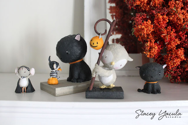mouse, cat, owl, pumpkin, halloween