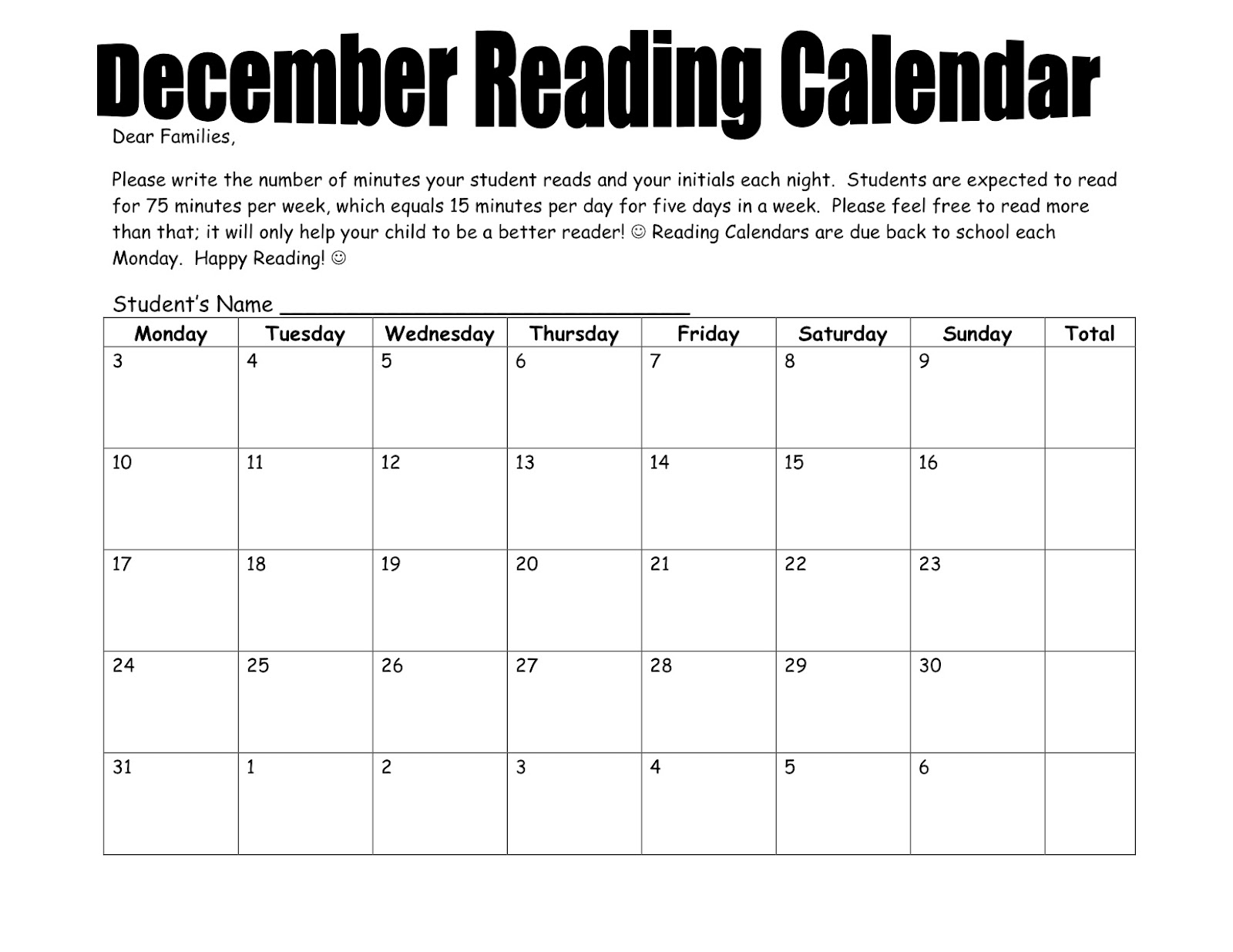 Monthly Reading Log Calendar : Reading log parent signature monthly search results