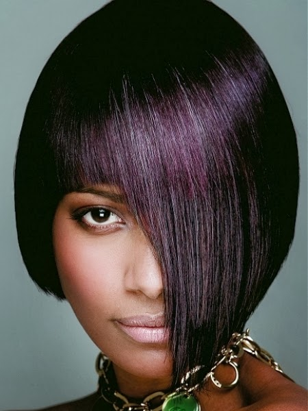 The Trendy Looks of Dark Hair with Purple Highlights   Cute Hair Style