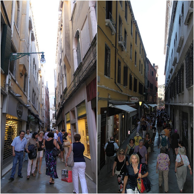 Narrow streets for shopping and dinning in Venice, Italy