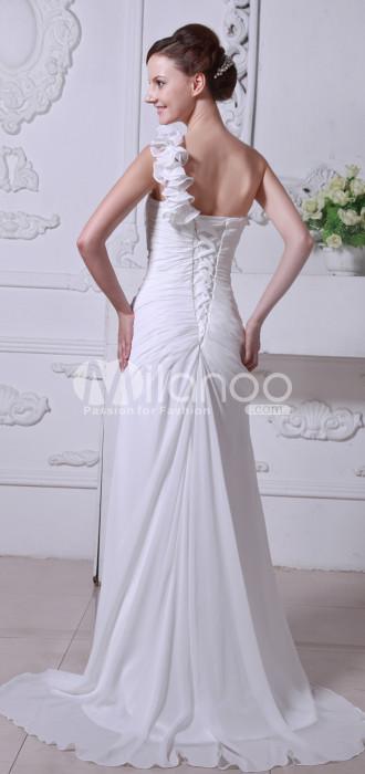 Satin Ivoire en mousseline de soie gaine Longueur étage robe de mariée colonne