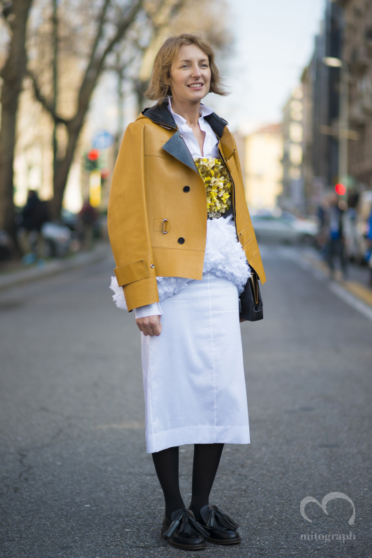 Woman wears Marni during Milan Fashion Week 2014 Fall Winter MFW