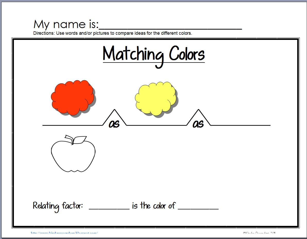 The Kinder Queendom: Colors Unit --Think--Talk--Draw--Write