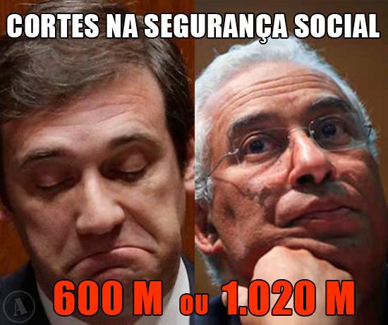 Fotos de Passo Coelho e de António Costa – Cortes na Segurança Social 600 milhões ou 1020 milhões