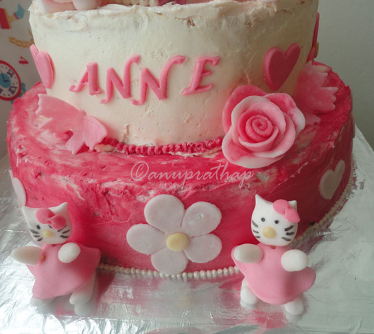 Anu Prathaps Kitchen 3 Tiered Hello kitty Birthday cake