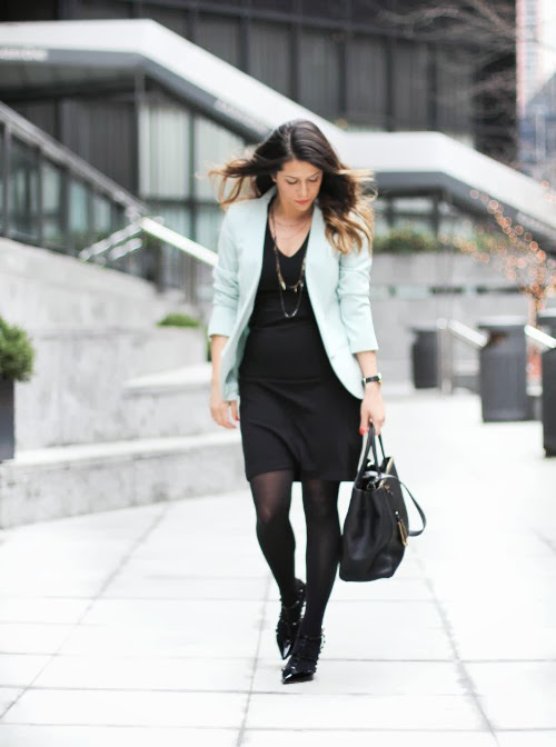black dress and blazer to work