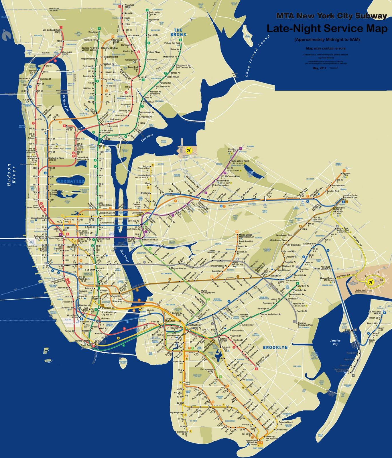 Astoria Nyc Map.Astoria Bike The First Late Night Nyc Subway Map