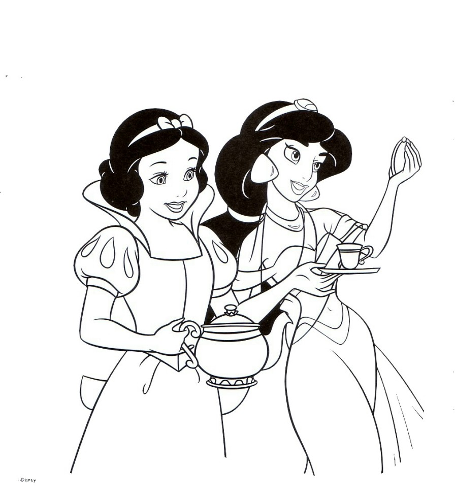 Colouring Pages Disney Jasmine : Cartoons coloring pages princess jasmine