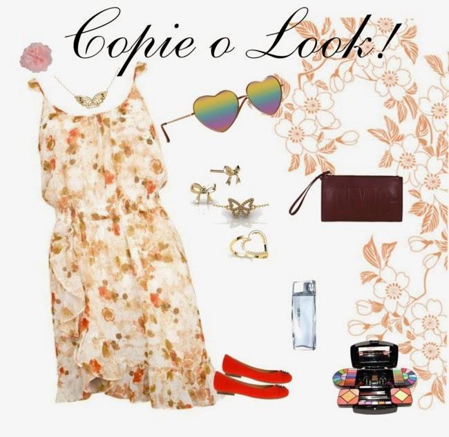 vestido floral, oculos de sol coração
