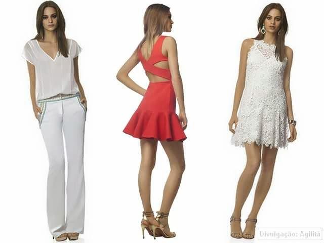 Calça flare, vestido vermelho com recortes e vestido branco de renda guipir.