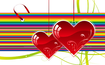 Bonita postal de corazones para el 14 de febrero