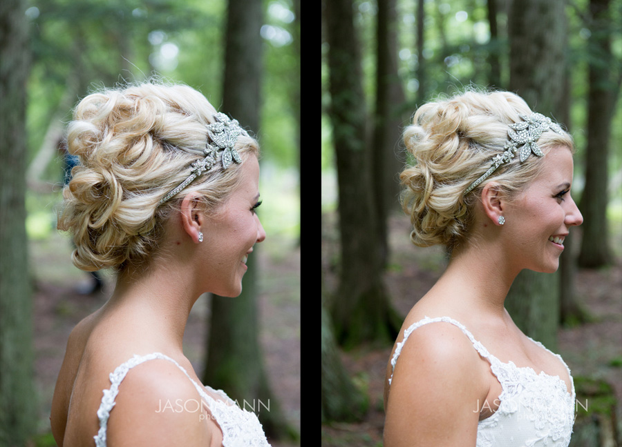 Bridal updo with tiara headband accent. Door County wedding. First look. Photo by Jason Mann Photography, 920-246-8106, www.jmannphoto.com