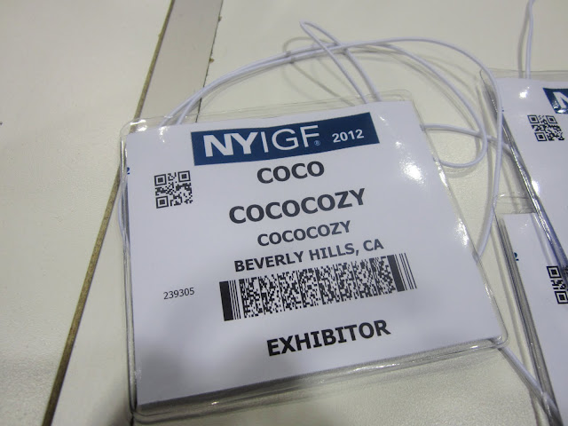 Coco's exhibitor badge from NYIGF 2012