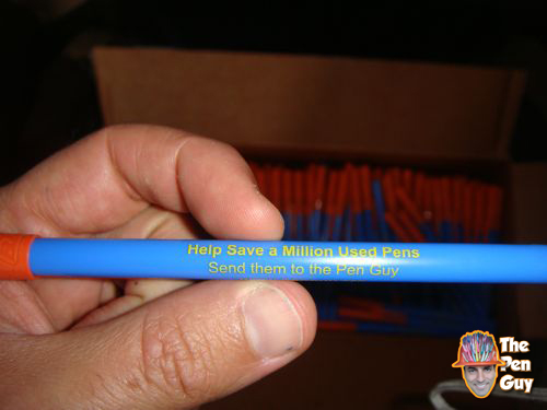 Closeup of Pen Guy promotional pen donated by Bic Promo Pens