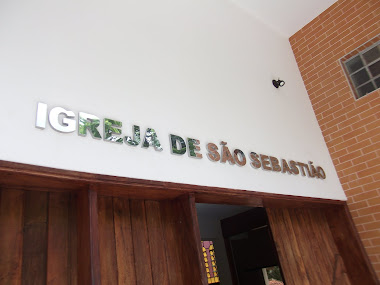 FACHADAS, LETREIROS EM LETRAS CAIXA EM AÇO POLIDO IGREJA DE SÃO SEBASTIÃO SÃO FRANCISCO XAVIER-SP