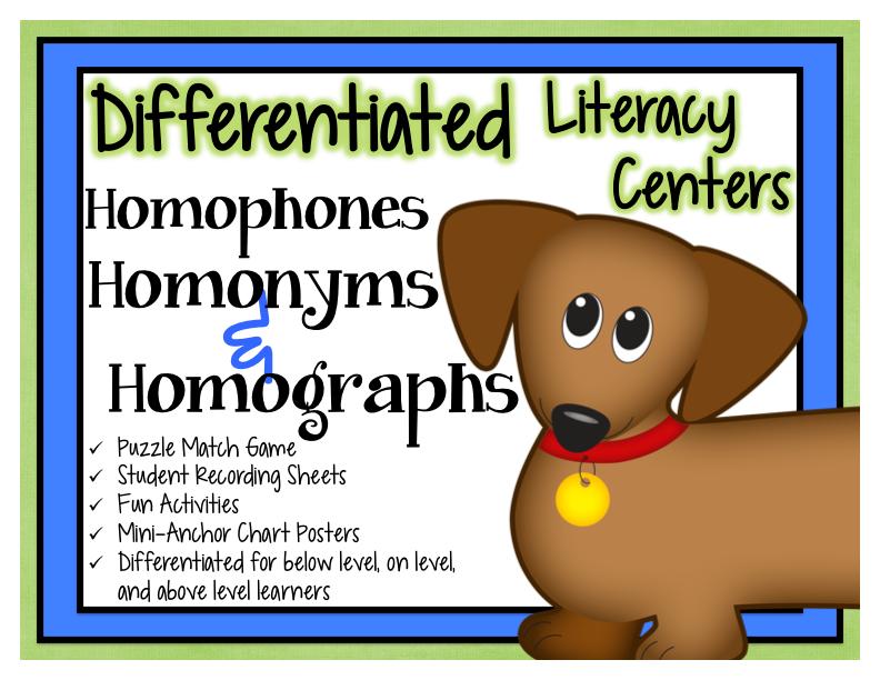Kearson's Classroom: Homophones, Homonyms & Homographs
