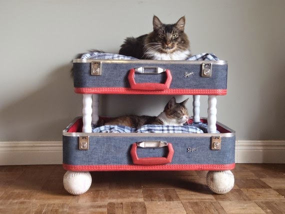 Homemade cat bed from old valises