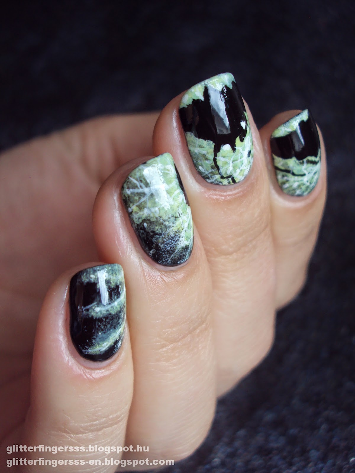Nail art tokyo tutorial glitterfingersss in english start off with a black base 1 than sponge some white2 and green 3 nail polish i added some dirty mint to it too i used a really thin nail art prinsesfo Image collections