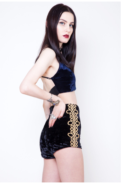 http://shopmiracleeye.com/collections/new-arrivals/products/gold-matador-black-velvet-shorts