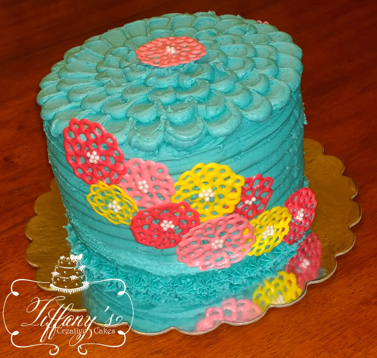 Chocolate Flowers Cake Decoration Telegraph : Aqua Double Barrel Cake with Chocolate Flowers Tiffany s ...