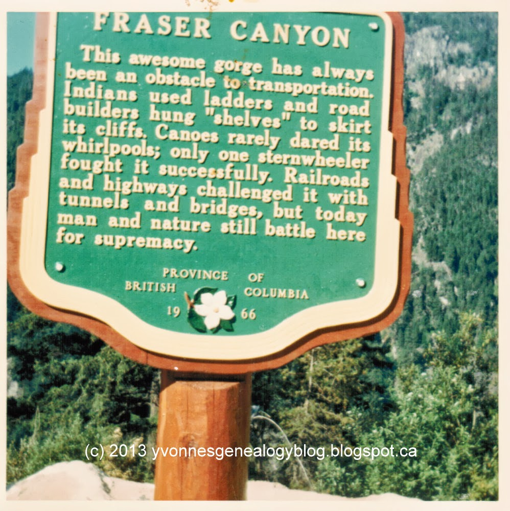 Fraser Canyon point of interest sign British Columbia 1966