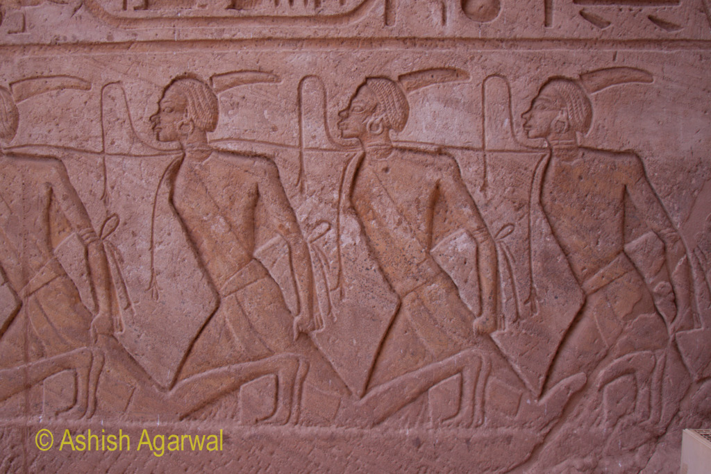 Sculptures on the external walls of the Abu Simbel temple in Egypt