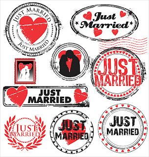 結婚報告のラベルとスタンプ just married labels and stamps イラスト素材