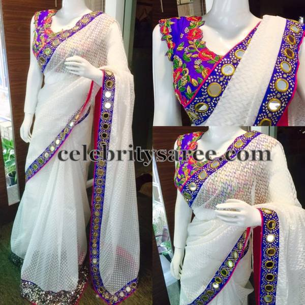 White Glass Work Saree