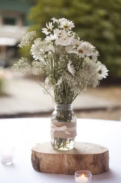 On Budget Mason Jar Cheap Wedding Centerpieces bridal and