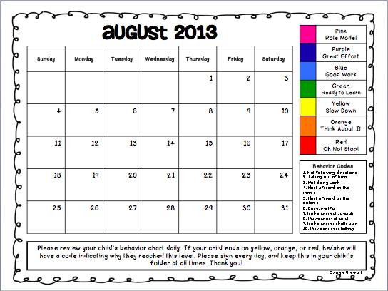 Monthly Calendar Chart : The first grade scoop finally updated clip chart calendars